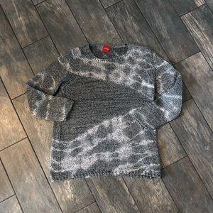 olsen sweater two tone gray color knit tye dye 6